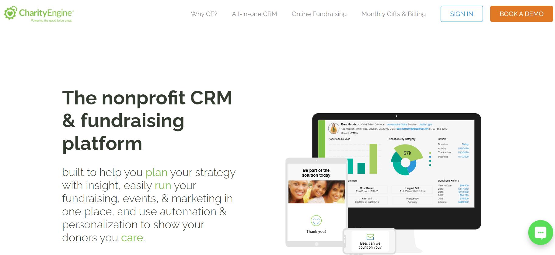 CharityEngine Advocacy Software homepage screenshot
