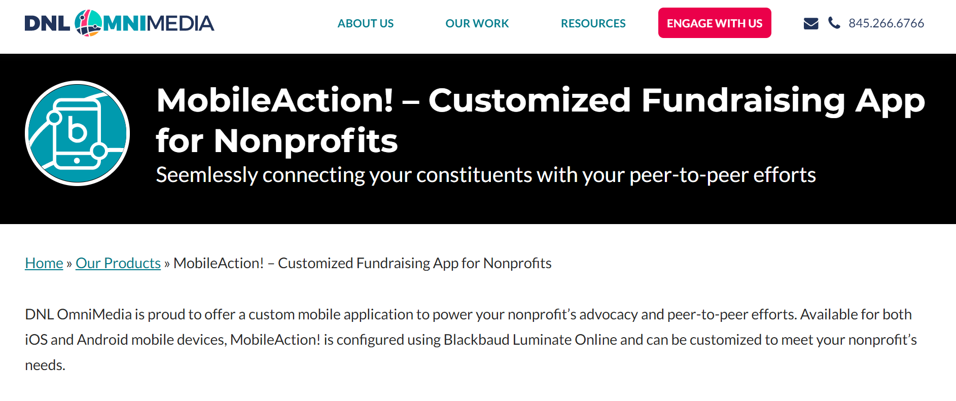 MobileAction Advocacy Software homepage screenshot