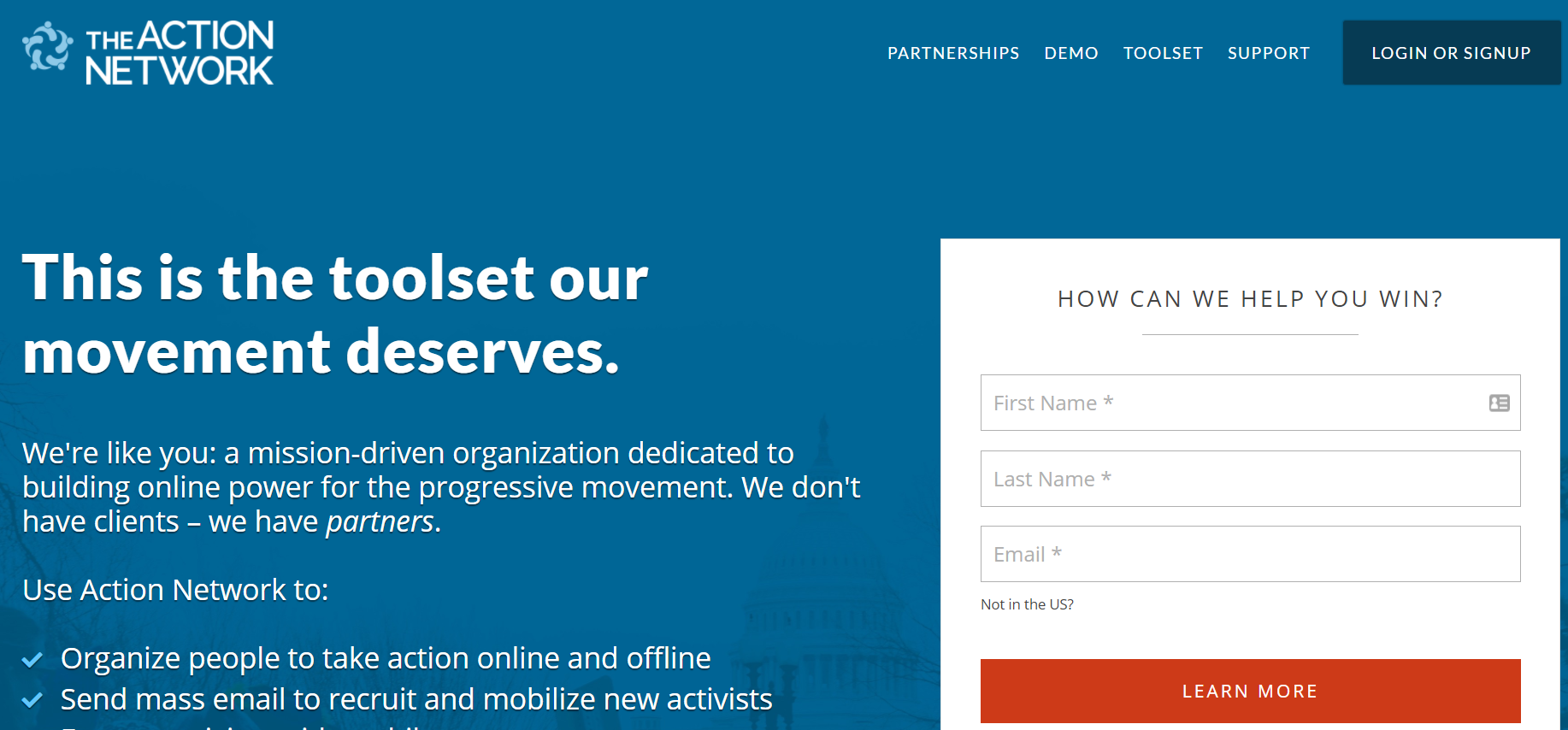 Action Network Advocacy Software homepage screenshot