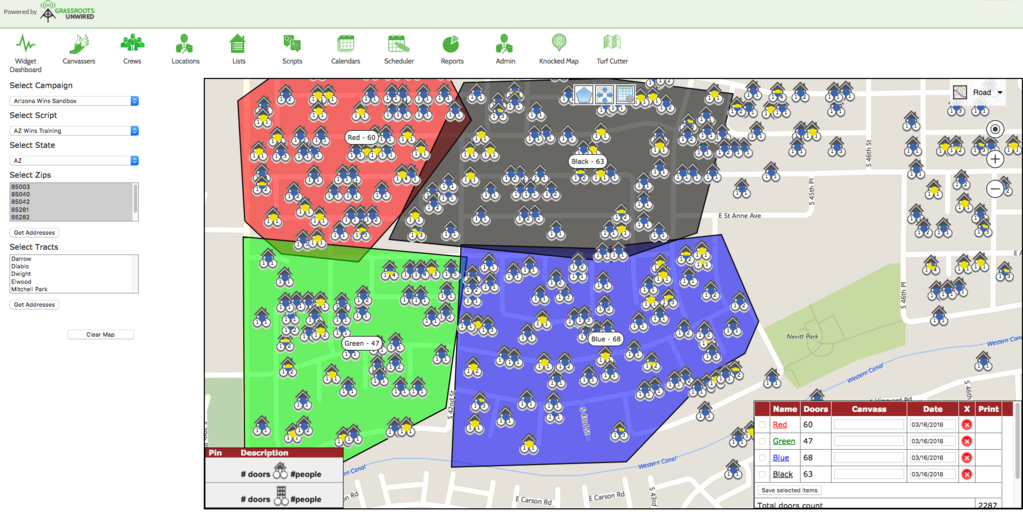 Grassroots Unwired Canvassing Software has an intuitive visual tool to cut turf for canvassers.