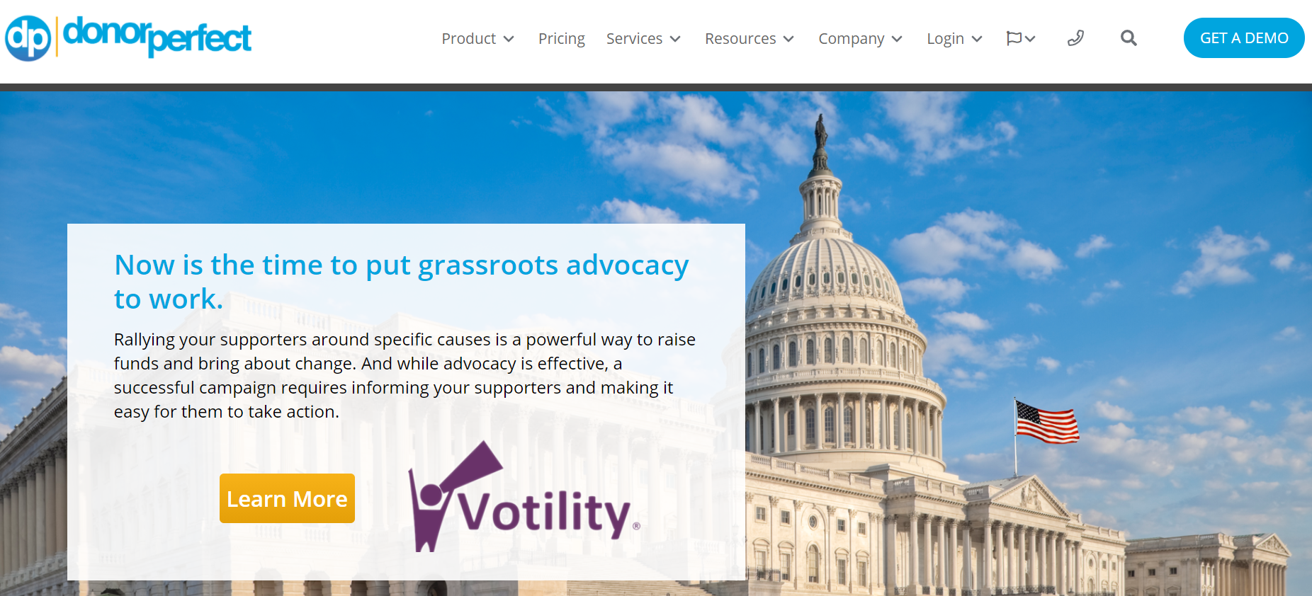 Votility Advocacy Software homepage screenshot