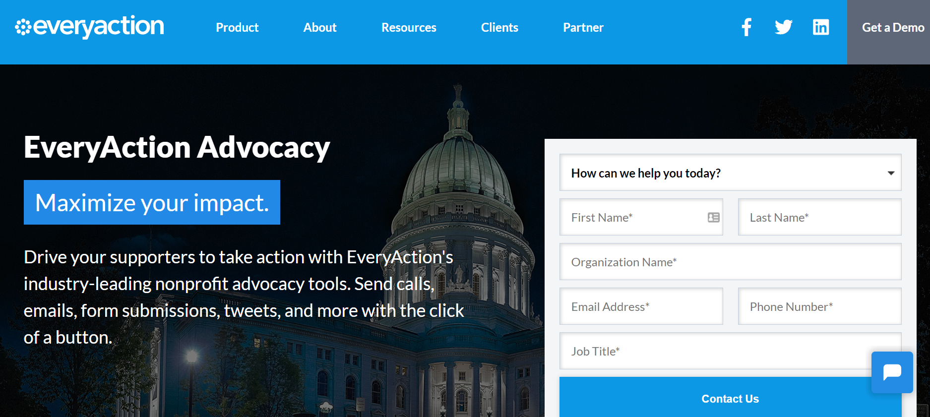 EveryAction Advocacy Software homepage screenshot