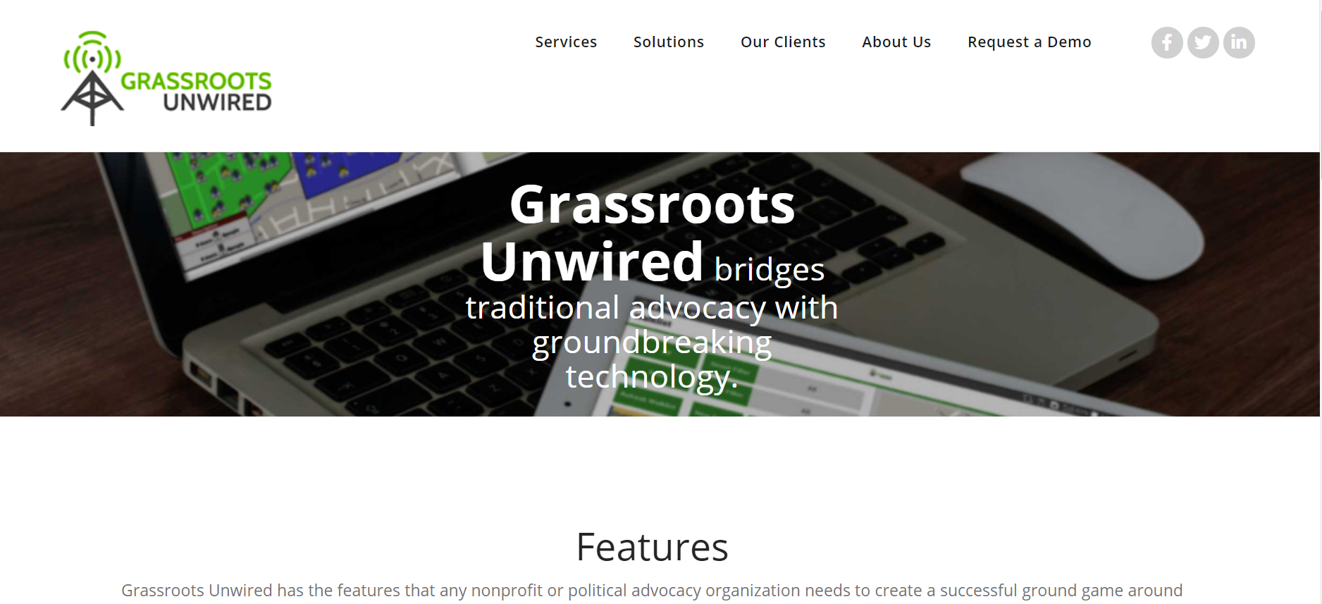 Grassroots Unwired Advocacy Software homepage screenshot