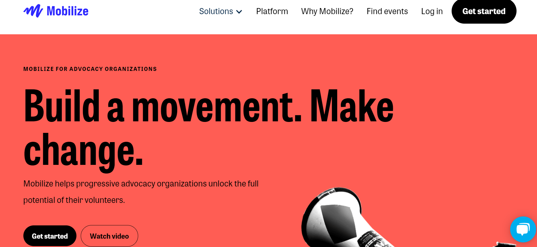 Mobilize Advocacy Software homepage screenshot