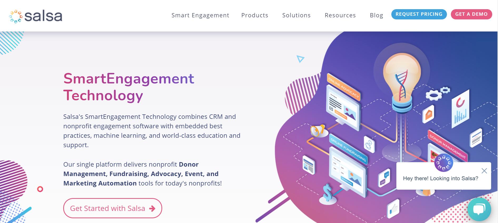 Salsa Advocacy Software homepage screenshot