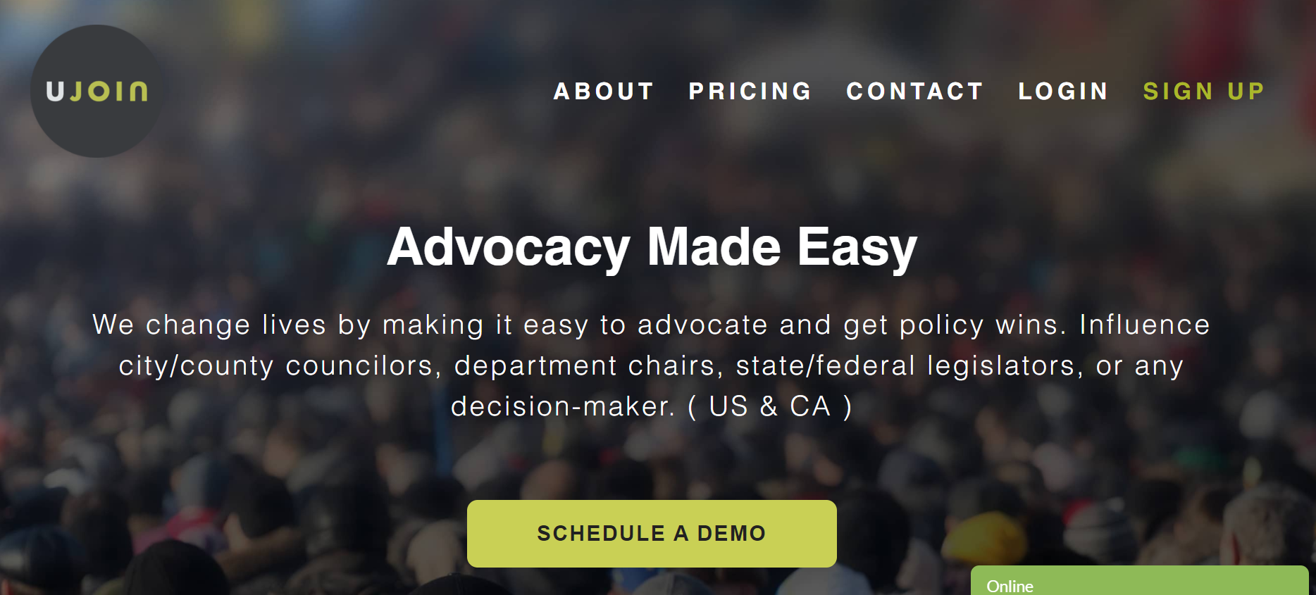Ujoin Advocacy Software homepage screenshot